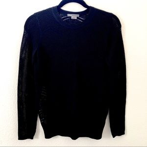 Vince Long Sleeve Loose Knit Black Sweater Top